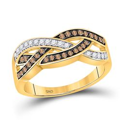 1/3 CTW Womens Round Brown Diamond Crossover Band Ring 10kt Yellow Gold - REF-29H4R