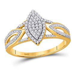 1/4 CTW Round Diamond Oval Bridal Wedding Engagement Ring 10kt Yellow Gold - REF-28M2F