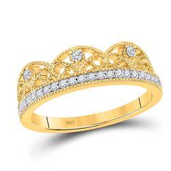1/5 CTW Womens Round Diamond Band Ring 10kt Yellow Gold - REF-27F3W