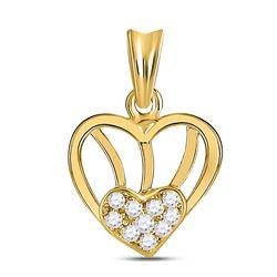 1/10 CTW Womens Round Diamond Heart Pendant 10kt Yellow Gold - REF-9X5T