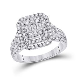 1 & 1/5 CTW Womens Baguette Round Diamond Cluster Ring 14kt White Gold - REF-119M4F