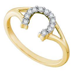 1/10 CTW Womens Round Diamond Lucky Horseshoe Split-shank Ring 10kt Yellow Gold - REF-18R5X