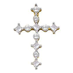 1/2 CTW Womens Princess Round Diamond Cross Religious Pendant 14kt Yellow Gold - REF-34H3R