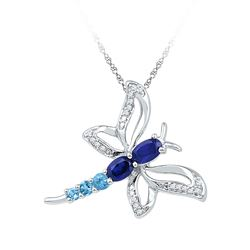 7/8 CTW Womens Oval Lab-Created Blue Sapphire Butterfly Bug Pendant 10kt White Gold - REF-20X5T