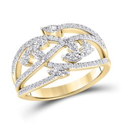 1 CTW Womens Marquise Round Diamond Band Ring 14kt Yellow Gold - REF-129M5F
