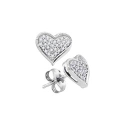 1/5 CTW Womens Round Diamond Heart Earrings 10kt White Gold - REF-19Y2N