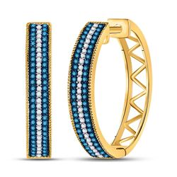 1/2 CTW Womens Round Blue Color Enhanced Diamond Hoop Earrings 10kt Yellow Gold - REF-47W6H