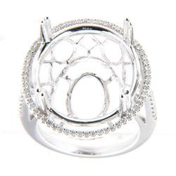 0.38 CTW Diamond Semi Mount Ring 14K White Gold - REF-72K2W