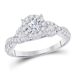 3/4 CTW Round Diamond Solitaire Bridal Wedding Engagement Ring 14kt White Gold - REF-88V5Y