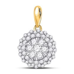 1/2 CTW Womens Round Diamond Circle Flower Cluster Pendant 14kt Yellow Gold - REF-47R6X
