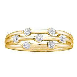1/20 CTW Womens Round Diamond Triple Strand Band Ring 10kt Yellow Gold - REF-17T3V