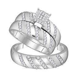 1/2 CTW His Hers Round Diamond Cluster Matching Wedding Set 10kt White Gold - REF-45F2W