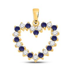 1/2 CTW Womens Round Blue Sapphire Diamond Heart Pendant 10kt Yellow Gold - REF-31F4W