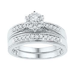 3/8 CTW Round Diamond Bridal Wedding Ring Band Set 10kt White Gold - REF-51T2V