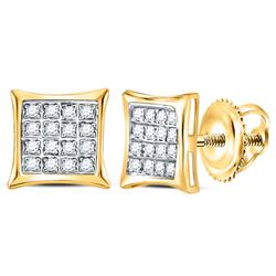 1/10 CTW Womens Round Diamond Square Kite Cluster Stud Earrings 14kt Yellow Gold - REF-10A9M