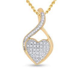 1/10 CTW Womens Round Diamond Heart Pendant 10kt Yellow Gold - REF-9V5Y