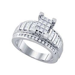 7/8 CTW Princess Diamond Cluster Bridal Wedding Engagement Ring 10kt White Gold - REF-66A2M