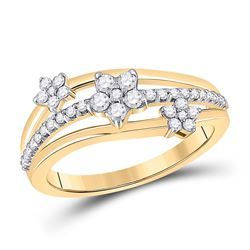 1/3 CTW Womens Round Diamond Flower Star Band Ring 10kt Yellow Gold - REF-34Y3N