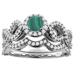 1.86 CTW Malachite & Diamond Ring 14K White Gold - REF-93R5H