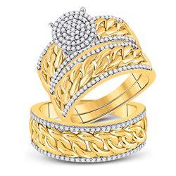 5/8 CTW His Hers Round Diamond Cluster Matching Wedding Set 10kt Yellow Gold - REF-88M5F