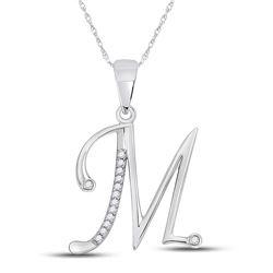 1/20 CTW Womens Round Diamond M Initial Letter Pendant 10kt White Gold - REF-13F2W