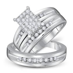 5/8 CTW His Hers Round Diamond Cluster Matching Wedding Set 10kt White Gold - REF-70R8X