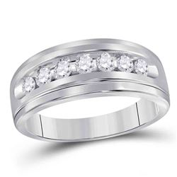 1/2 CTW Mens Round Diamond Wedding Single Row Band Ring 10kt White Gold - REF-49M6F