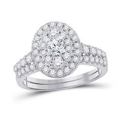 1 CTW Round Diamond Bridal Wedding Ring Band Set 10kt White Gold - REF-88R5X