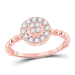 1/3 CTW Womens Round Diamond Circle Cluster Ring 10kt Rose Gold - REF-32T7V