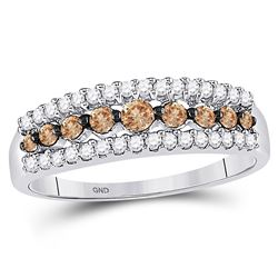 1/2 CTW Womens Round Brown Diamond Triple Row Band Ring 10kt White Gold - REF-29R4X