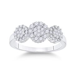 1/2 CTW Womens Round Diamond Triple Flower Cluster Ring 14kt White Gold - REF-53V2Y