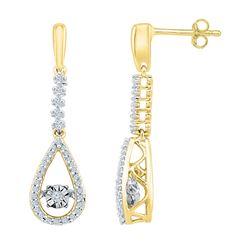 1/5 CTW Womens Round Diamond Moving Twinkle Teardrop Dangle Earrings 10kt Yellow Gold - REF-29H9R