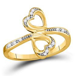 1/20 CTW Womens Round Diamond Double Heart Bypass Ring 10kt Yellow Gold - REF-19V3Y