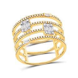 3/8 CTW Womens Round Diamond Cluster Fashion Ring 14kt White Gold - REF-54T5V