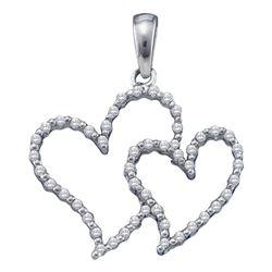1/6 CTW Womens Round Diamond Double Outline Heart Pendant 10kt White Gold - REF-13R2X
