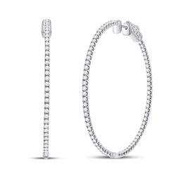 3 & 1/3 CTW Womens Round Diamond Inside-Outside Hoop Earrings 14kt White Gold - REF-272H6R