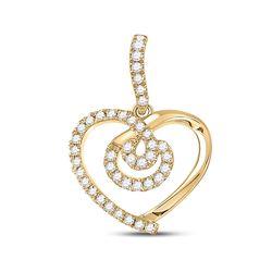 1/5 CTW Womens Round Diamond Heart Pendant 14kt Yellow Gold - REF-31A4M