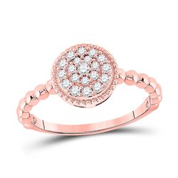 3/8 CTW Womens Round Diamond Beaded Circle Cluster Ring 10kt Rose Gold - REF-36N2A