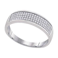 1/4 CTW Mens Round Diamond Pave Band Ring 10kt White Gold - REF-30V7Y