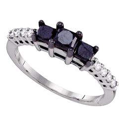 1 CTW Round Black Color Enhanced Diamond 3-stone Bridal Engagement Ring 10kt White Gold - REF-26N5A