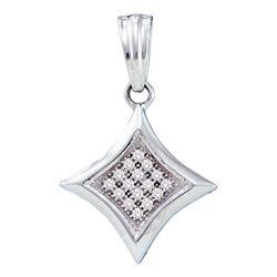 1/20 CTW Womens Round Diamond Diagonal Kite Square Cluster Pendant 10kt White Gold - REF-8T3V