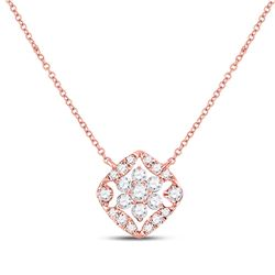 1/3 CTW Womens Round Diamond Floral Cluster Necklace 14kt Rose Gold - REF-40H8R