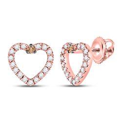 1/6 CTW Womens Round Brown Diamond Heart Earrings 10kt Rose Gold - REF-20F5W
