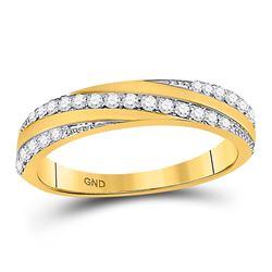 1/4 CTW Womens Round Diamond Diagonal Stripe Band Ring 14kt Yellow Gold - REF-33T5V