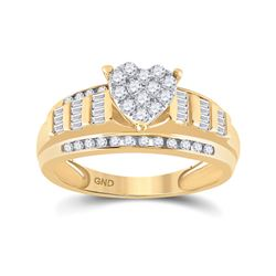 1/2 CTW Round Diamond Heart Bridal Wedding Engagement Ring 10kt Yellow Gold - REF-45N2A