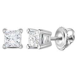 3/8 CTW Unisex Princess Diamond Solitaire Stud Earrings 14kt White Gold - REF-36F7W