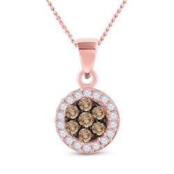 3/8 CTW Womens Round Brown Diamond Flower Cluster Pendant 10kt Rose Gold - REF-20A5M