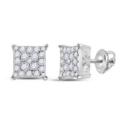 1/4 CTW Womens Round Diamond Square Cluster Earrings 10kt White Gold - REF-22R5X