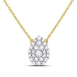1/2 CTW Womens Round Diamond Teardrop Cluster Necklace 10kt Yellow Gold - REF-40Y8N