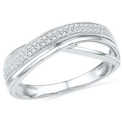 1/6 CTW Womens Round Diamond Crossover Band Ring 10kt White Gold - REF-19N6A